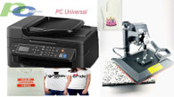 PC Universal Sublimation Bundle with Printer, Flat bed Heat Press Machine for T-shirts, Transfer Paper, Heat Tape, ALL INCLUDED
