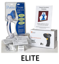 The Complete-Elite package contains the Theatre Inventory Database Elite, 1,000 Inventory Tags, 250 Adhesive Labels, a Barcode Scanner (your choice) and the Dritz Petite Press.