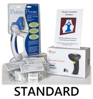 The Complete package includes the Theatre Inventory Database - Standard, 1,000 Inventory Tags, 250 Inventory Labels. a barcode scanner and the Dritz Petite Press.