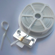 65' roll of plastic twist tie material with built-in cutter.
