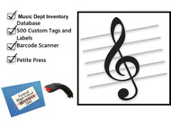 The Complete Package includes:  The Music Dept. Inventory Database, 250 Tags (for garments), 250 self-adhesive labels (for instruments/equipment), the Dritz Petite Press and a Barcode scanner .
