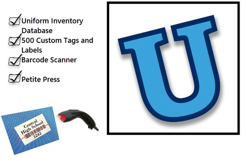 Uniform Inventory Database, 500 custom printed tags and labels, Barcode Scanner, Petite Press