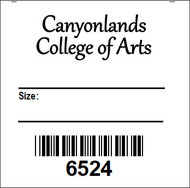 """1.5"""" wide x 1.5"""" tall Iron-on tag.  There is room for a large logo and 2 blank lines."""