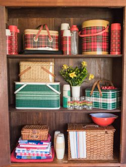 Vintage plaid, tartan, metal and wicker picnic baskets, vintage thermos bottles, vintage picnic blankets and vintage picnic supplies
