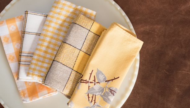 Vintage yellow plaid, tartan, gingham and floral napkins