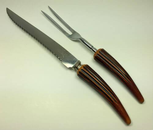 Vintage Sheffield Horn Handle Carving Knife and Fork Set of 2