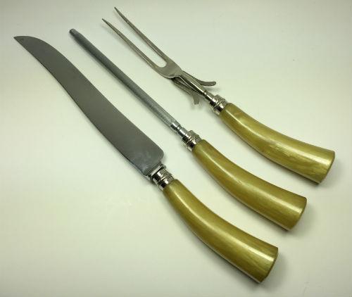 Vintage Sheffield Yellow Bakelite Carving Knife Fork Steel Set of 3