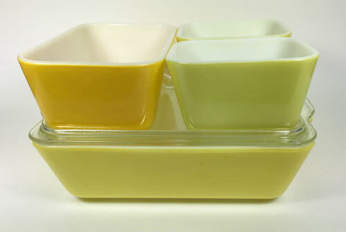 Vintage Pyrex Refrigerator Dishes Yellows Set of 5 side