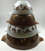 Vintage Pyrex Cinderella Bowls Brown White Gold Early American Set of 4 stacked