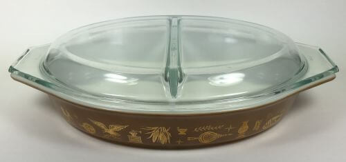 Vintage Pyrex divided casserole cover brown gold Early American
