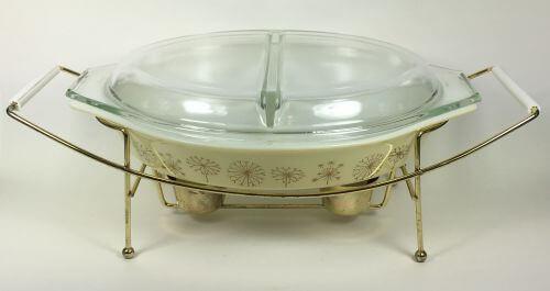 Vintage Pyrex divided casserole warmer cover box Dandelion