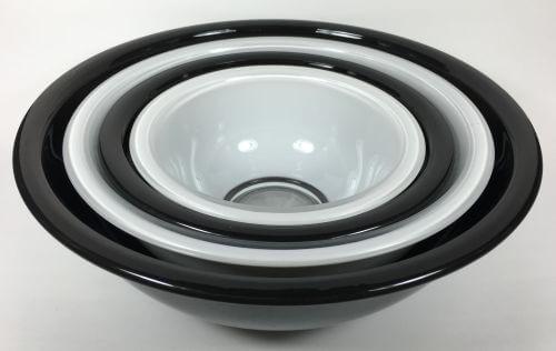 Vintage Pyrex Nesting Bowls Black White Set of 4