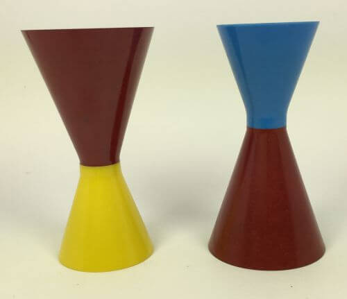 Vintage Mid Century Double Jiggers Yellow Red Blue Red Set of 2