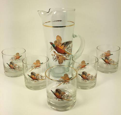 Vintage Pheasants Cocktail Mixing Pitcher 5 Glasses Set of 6