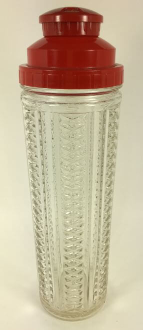 Vintage Tall Cocktail Shaker with Recipes in Red Lid