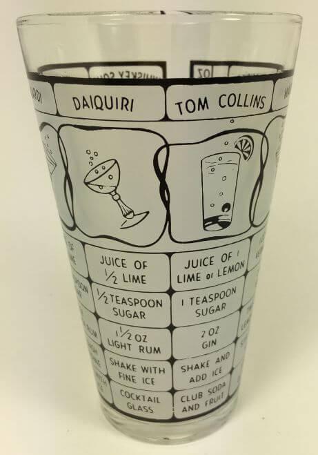 Vintage 1960s Bar Shaker Frosted Cocktail Recipes Black Tom Collins
