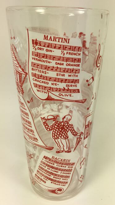 Vintage Tall Cocktail Shaker Musical Recipes Red White