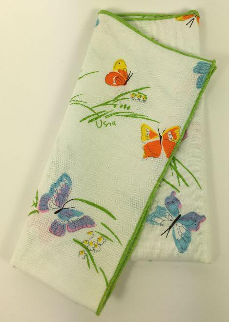 Vintage Vera Napkins Colorful Blue Purple Orange Butterflies Green Trim Set of 4