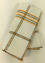 Vintage Napkins Cream with Yellow and Black Plaid Set of 6