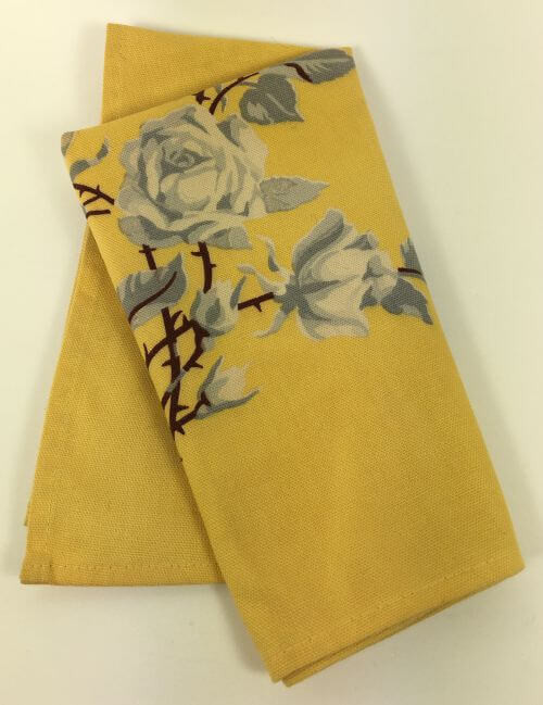 Vintage Napkins Yellow Gray Roses Brown Stems Set of 4