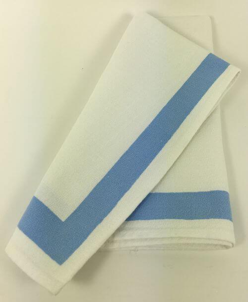 Vintage Napkins White Periwinkle Blue Border Set of 6