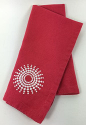 Vintage Napkins Raspberry Red White Embroidered Sunburst Corner set of 12