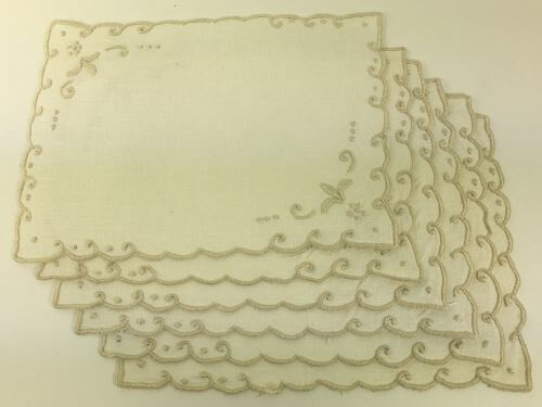 Vintage Cocktail Napkins Cream with Taupe Embroidered Edges Set of 6