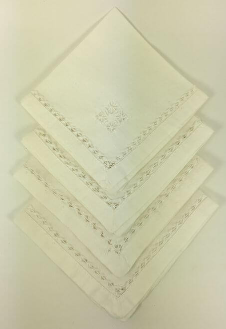 Cocktail Napkins White with Detailed Corner and Border Set of 4