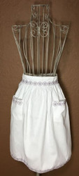 Vintage Half Apron White with Light Purple Flower Trim