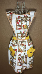 Vintage Full Apron Brown Red Harvest Gold Poppy Pockets