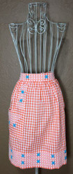 Vintage Half Apron Orange Gingham with Blue Flowers
