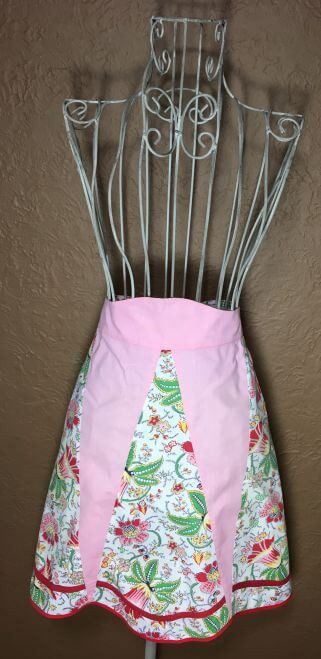 Vintage Half Apron Pink with Red and Green Floral