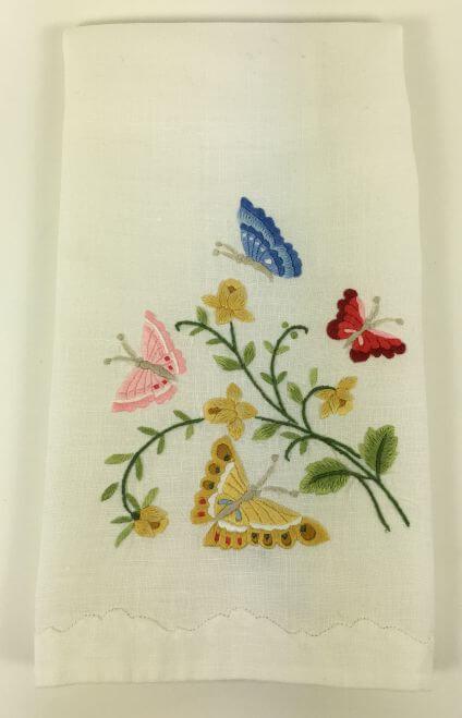 Vintage Kitchen Towel Embroidered Butterflies