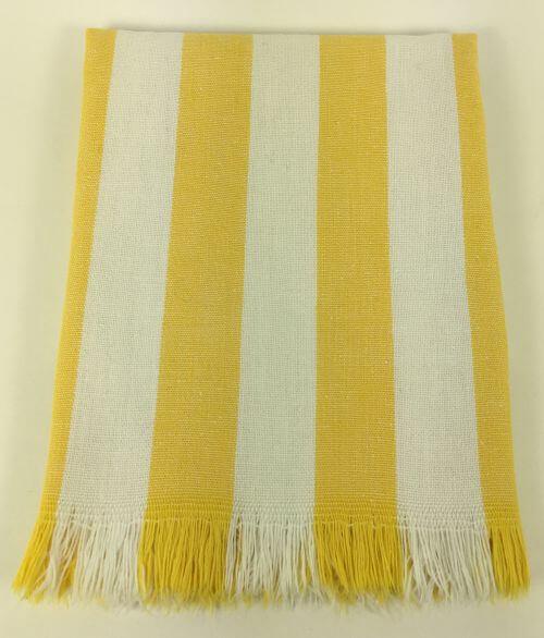 Vintage Kitchen Towel Yellow and White Stripes