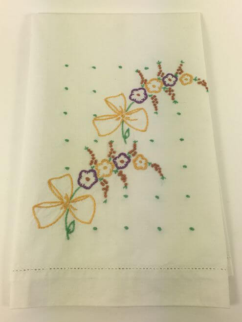 Vintage Kitchen Towel Yellow Bows Purple Flowers