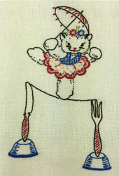 Vintage Kitchen Towel Cat on Tightrope Fork Knife Detail