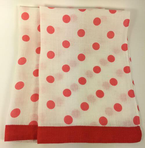 Vintage Kitchen Towels Red Pink Polka Dots Set of 2