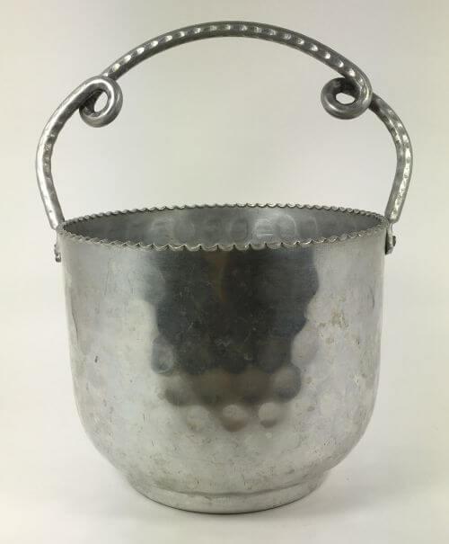 Vintage Ice Bucket Hammered Aluminum