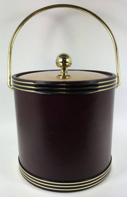 Vintage Ice Bucket Red Black Gold Brass