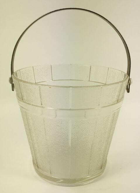 Vintage Ice Bucket Frosted Glass Hammered Metal Handle