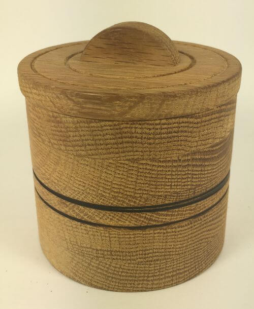 Vintage Round Wood Salt Cellar Box