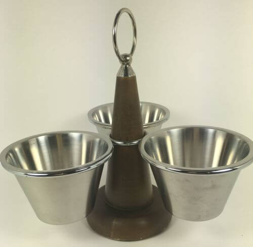 Vintage Wood Stainless Condiment Caddy Danish