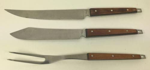 Vintage Knife Knives Carving Slicing Chefs Serving Meat Fork Ekco Flint