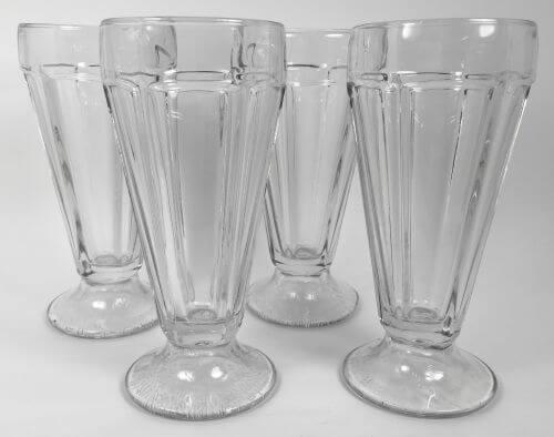 Vintage Clear Glass Soda Fountain Ice Cream Sundae Set of 4