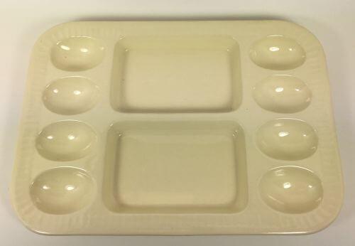 Vintage Creamware Deviled Egg Tray Plate Platter