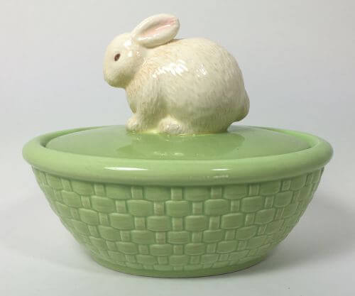 Bunny Light Green Basketweave Covered Candy Dish Rabbit