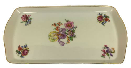Vintage Czech Sandwich Trays Appetizer Plates Flowers Iris