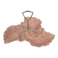 Vintage Pink Candy Relish Dish with 3 Sections Leaf Design