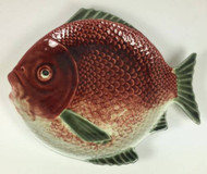 Vintage Portuguese Majolica Fish Plate Red Green
