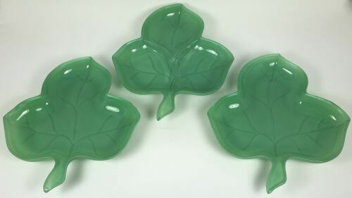 Vintage Green Glass Shamrock Shaped Plates Set of 3